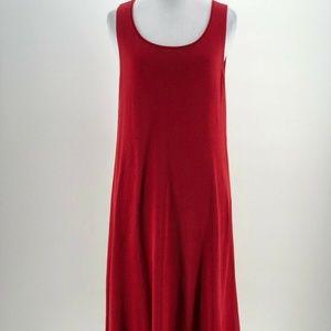 Eileen Fisher Red Silk  dress Maxi